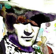 John Wayne Prints Prints - 48x46 Huge John Wayne - Signed Art Abstract Paintings Modern www.splashyartist.com Print by Robert R Abstract Art