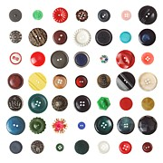 Vintage Clothing Prints - 49 Buttons Print by Jim Hughes