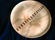Elegant Sculptures - 491-Handcrafted Bookmatched Wood Serving Platter with Butterfly Bowtie Inlays by Jack Lewis