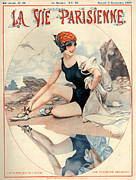 Beaches Drawings Prints - 1920s France La Vie Parisienne Magazine Print by The Advertising Archives