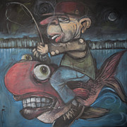 Jockey Painting Originals - 4am Fish Jockey by Tim Nyberg