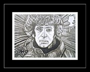 4th Drawings Framed Prints - 4th Doctor Tom Baker Framed Print by Jenny Campbell Brewer