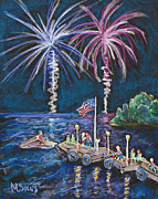 4th July Painting Prints - 4th of July - Baileys Harbor Print by Madonna Siles