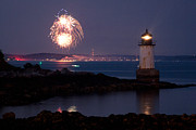 New England Lighthouse Digital Art Prints - 4th of July illumination Print by Jeff Folger
