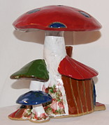 Vegetables Ceramics - 4th of July Mushroom House by Susan Perry