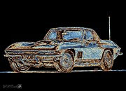Motors Mixed Media Framed Prints - 1967 Corvette Framed Print by J McCombie