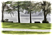 Greenery Prints - A bench and path on the shore of Loch Ness in Scotland Print by Ashish Agarwal