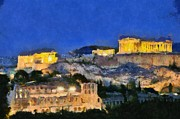 Akropolis Posters - Acropolis of Athens during dusk time Poster by George Atsametakis