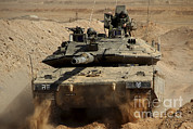 Battletank Posters - An Israel Defense Force Merkava Mark Iv Poster by Ofer Zidon