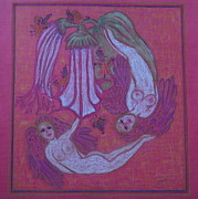 Jesus Pastels Prints - Angels At Play With The Angels Trumpets Print by Lyn Blore Dufty
