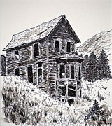 Historical Buildings Drawings Prints - Animas Forks Print by Judy Sprague