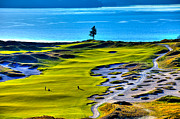 Us Open Framed Prints - #5 at Chambers Bay Golf Course - Location of the 2015 U.S. Open Tournament Framed Print by David Patterson