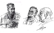 Men Talking Drawings - At Tim Hortons by Ylli Haruni