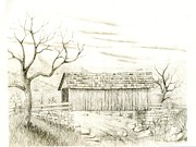 Barns Drawings Prints - Barn Print by George Lambert
