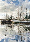 Reflections Of Sky In Water Posters - Bayou LaBatre AL Shrimp Boat Reflections Poster by Jay Blackburn