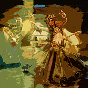 Oil On Canvas Painting Originals - Belly Dancer by Corporate Art Task Force