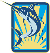 Blue Marlin Posters - Blue Marlin Fish Jumping Retro Poster by Aloysius Patrimonio