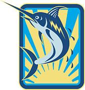 Blue Marlin Fish Jumping Retro Print by Aloysius Patrimonio