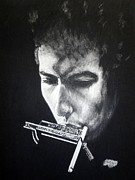 Featured Drawings - Bob Dylan 1965 by Charles Rogers