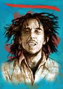 Charcoal Mixed Media - Bob Marley stylised pop art drawing potrait poser by Kim Wang