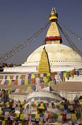 Tibetan Buddhism Metal Prints - Bodnath Stupa Kathmandu Valley Nepal Metal Print by Kevin Miller