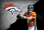 Broncos Photo Framed Prints - Broncos Peyton Manning Framed Print by Joe Hamilton