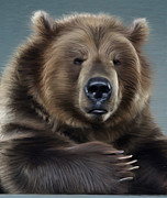 Kodiak Digital Art Prints - Brown Bear Print by Aleksey Tugolukov