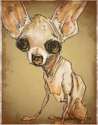 Chihuahua Framed Prints - Chihuahua Caricature Framed Print by Canine Caricatures By John LaFree