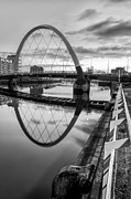 White Images Posters - Clyde Arc Squinty Bridge Poster by John Farnan