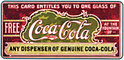 Vintage Care Framed Prints - Coca - Cola Vintage Poster Framed Print by Sanely Great