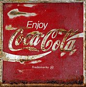 Closeup Coke Sign Prints - Coca Cola Vintage Rusty Sign Print by John Stephens