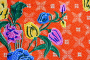 Beautiful Tapestries - Textiles Prints - Colorful batik cloth fabric background  Print by Prakasit Khuansuwan