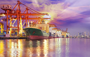 Warehouses Posters - Container Cargo freight ship  Poster by Anek Suwannaphoom
