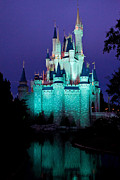 Holiday Theme Framed Prints - Disney castle at night Framed Print by Fizzy Image