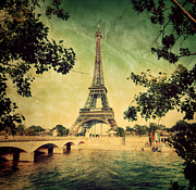 Vintage Paris Posters - Eiffel Tower and bridge on Seine river in Paris Poster by Michal Bednarek