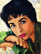 Elizabeth Taylor Framed Prints - Elizabeth Taylor Framed Print by Allen Glass