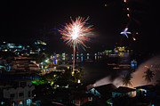 Asien Prints - Fireworks Display Over A Tropical Village Print by Colin Utz