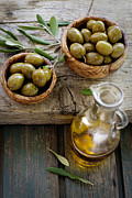 Wooden Bowl Prints - Fresh olives Print by Mythja  Photography