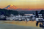 Puget Sound Photographs Posters - Gig Harbor Marina and Boatyard Poster by Yefim Bam