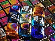 Jewel Tones Posters - Glass Abstract 3 Poster by Sarah Loft