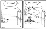 Lazy Dog Drawings - Good Dog Bad Dog by Rhodes Rumsey