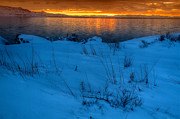 Snowy Evening Posters - Great Salt Lake Utah Poster by Utah Images