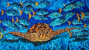 Amphibian Tapestries - Textiles Posters - Green Sea Turtle Poster by Daniel Jean-Baptiste