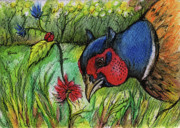 Pheasant Drawings Prints - In My Magic Garden Print by Angel  Tarantella