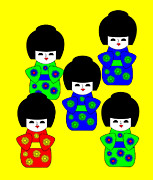 5 Japanese Dolls On Yellow Digital Art - 5 Japanese Dolls on yellow by Asbjorn Lonvig