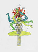 Hindu Goddess Drawings Framed Prints - 5 Framed Print by Jessica McLellan