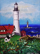 Linda Simon Wall Decor Prints - Lighthouse Hill Print by Linda Simon