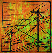 Block Print Drawings Metal Prints - Lines Metal Print by William Cauthern