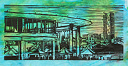 Linocut Drawings Originals - Long Center by William Cauthern