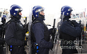 Police Officers Prints - Loyalist Protesters Attack Police Lines Print by Andrew Chittock